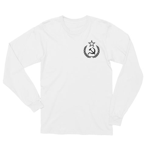 White Comrade Long Sleeve T-Shirt with small logo on left side