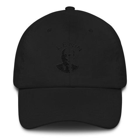 black embroidered Lenin cap with picture and text of Lenin
