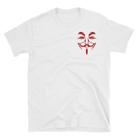 white Anonymous tshirt with small anonymous logo on stomach