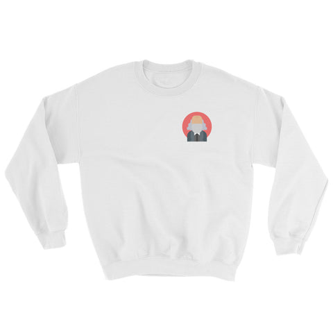 white Commie Sweatshirt with commie shop logo