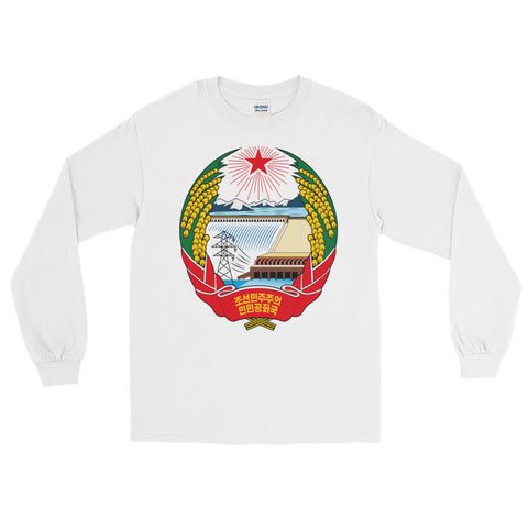 White North Korea Coat of Arms Long Sleeve with North Korea Juche logo on front