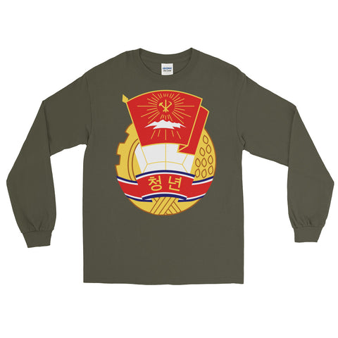 army green North Korea KS Youth League long sleeve tshirt with KSYL logo on stomach
