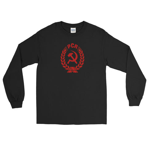 Black PCR Coat of Arms Long Sleeve tshirt with medium communist logo