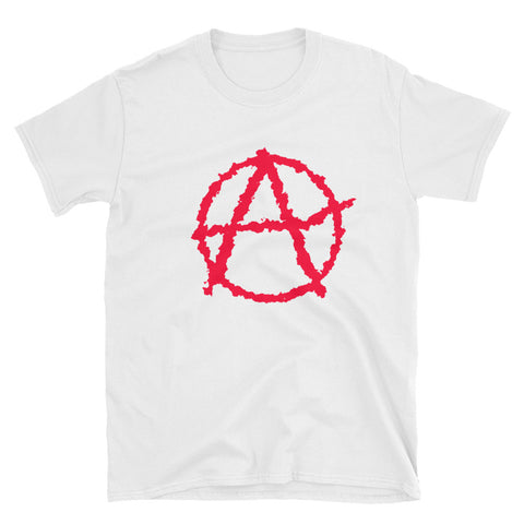 white anarchy tshirt society seeks order in anarchy with big logo on stomach