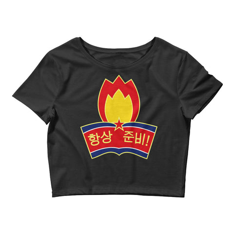 Black North Korea Youth League Crop Tee with North Korean logo