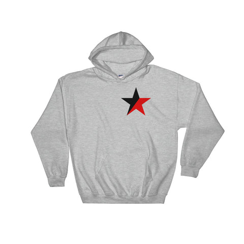 Grey Anarcho Syndicalism Hoodie, red and black star emblem
