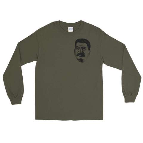 green Stalin Long Sleeve tshirt with small picture of stalin