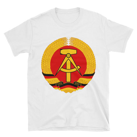 white tshirt with a big logo Coat of arms of the German Democratic Republic National emblem of East Germany