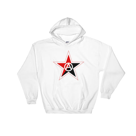 white Ancom Hoodie with red and black star