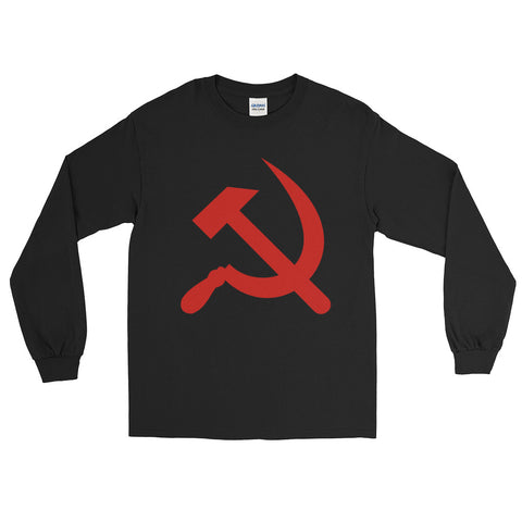 Black Hammer and Sickle long sleeve tshirt with big communism logo