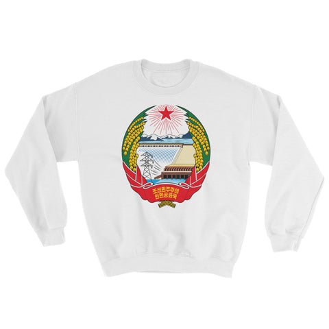 White North Korea Coat of Arms Sweatshirt with logo of North Korea Juche