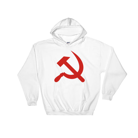 white Hammer and Sickle Hoodie with red communism logo