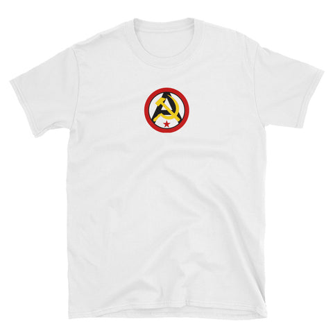 White Anarcho Communist T-Shirt with logo in the center