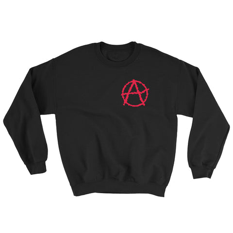 black anarchy sweatshirt society seeks order in anarchy with big logo on left side