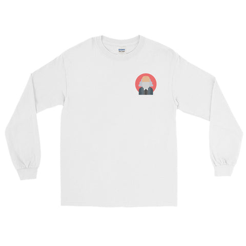 white Commie Long Sleeve commie shop logo