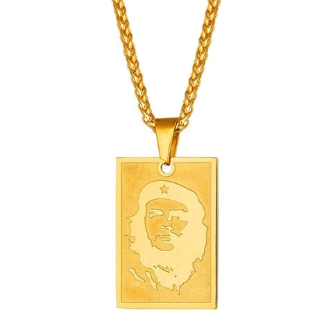Che Guevara Gold Portrait Necklace stainless steel