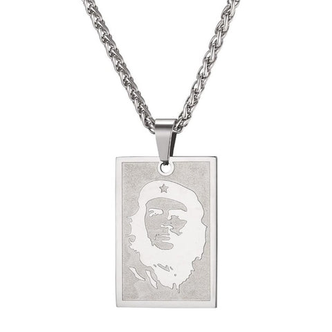 Che Guevara Silver Portrait Necklace stainless steel