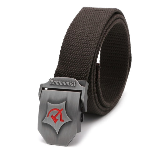 Coffee color Communist Military Belt with hammer and sickle