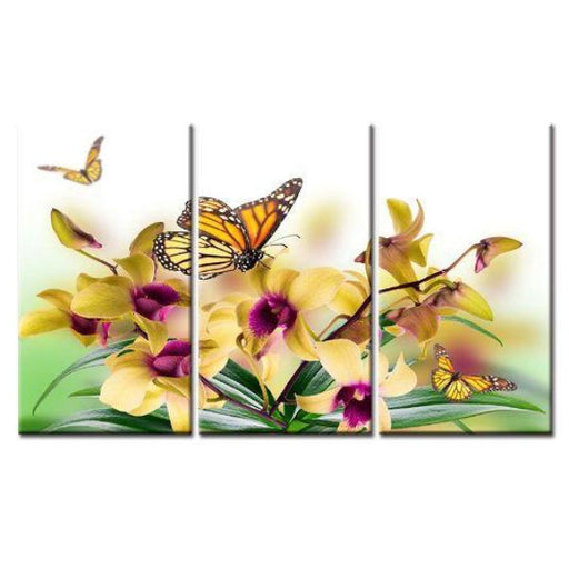 Butterfly On Orchids Canvas Wall Art