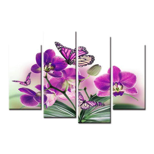 Purple Butterflies And Orchids Canvas Wall Art