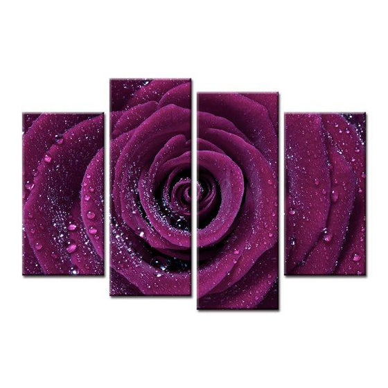 Wet Purple Rose Canvas Wall Art