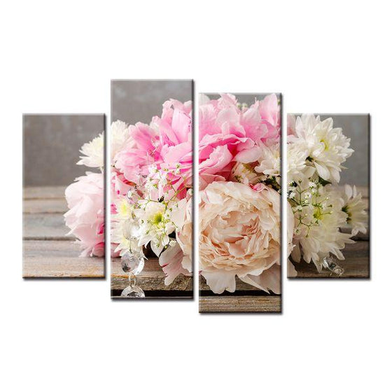Pastel Color Bouquet Canvas Wall Art