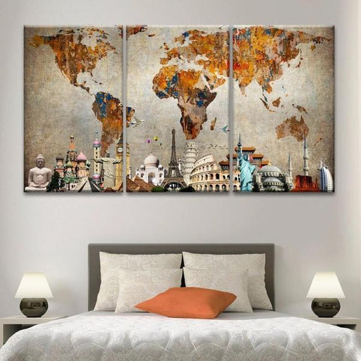 World Maps Canvas Wall Art Shop Printed Map Of The World Wall - 3 piece world map wall art