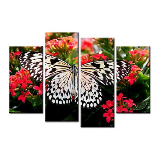 Butterfly On Flowers Canvas Art