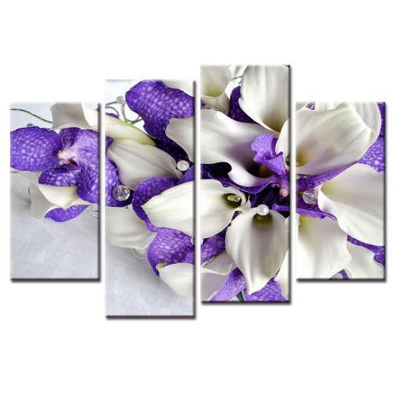 White & Purple Flower Canvas Wall Art