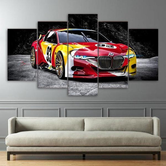 Red Race Car Canvas Wall Art Decor