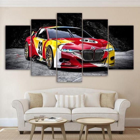 Red Race Car Canvas Wall Art