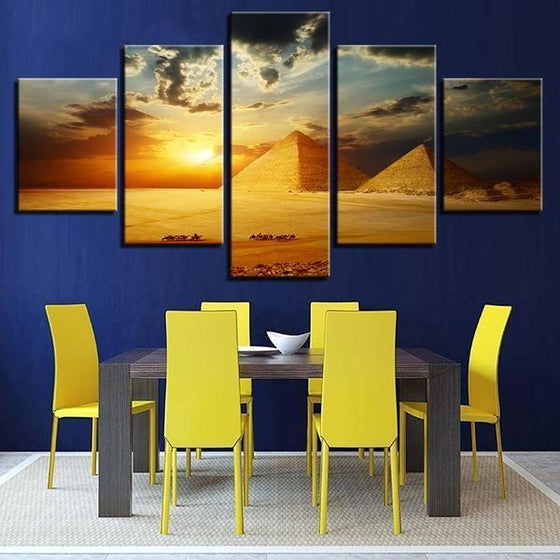 5 Piece Wall Art Sunset Canvases