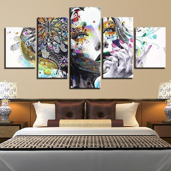 Psychedelic Girl With Flower Canvas Wall Art Bedroom