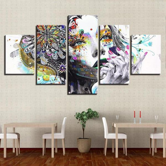 Psychedelic Girl With Flower Canvas Wall Art Dining Room