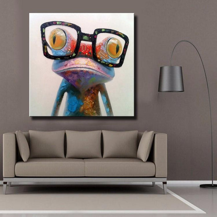 Cute Frog with Glasses Canvas Wall Art