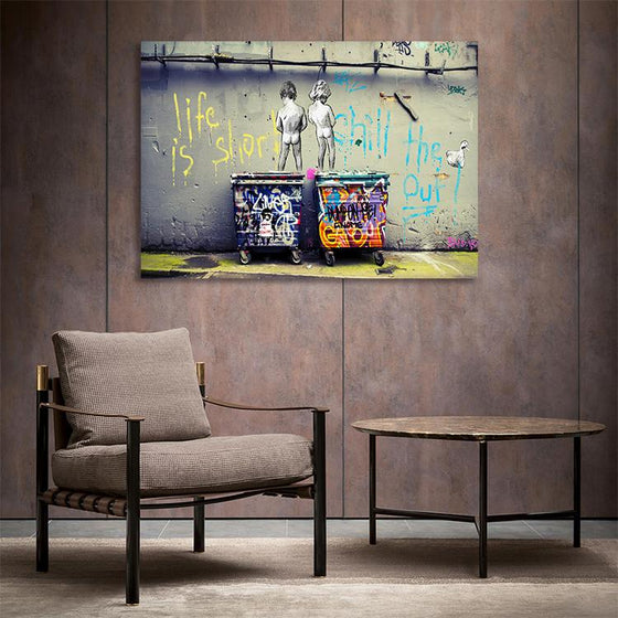 Art Life Is Short Chill The Duck Out By Banksy Canvas Print Wall Art