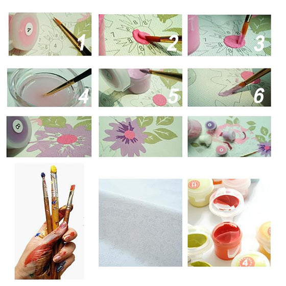 Bright Pink Flowers Wall Art- DIY Painting by Numbers Kit