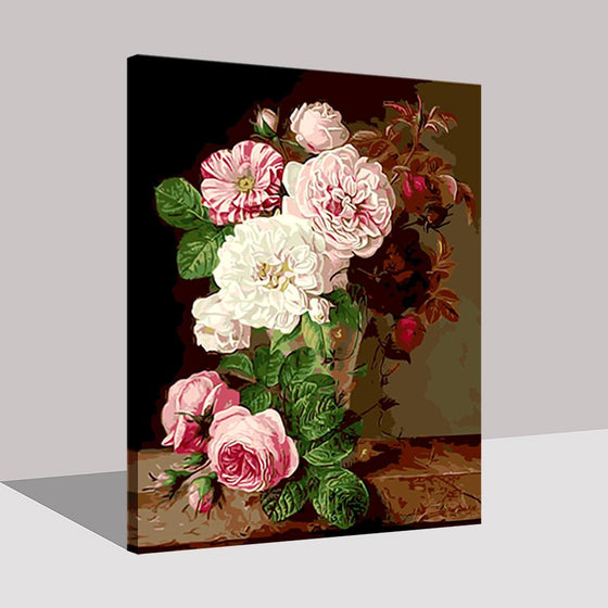 Bright Pink Flowers Wall Art Prints- DIY Painting by Numbers Kit