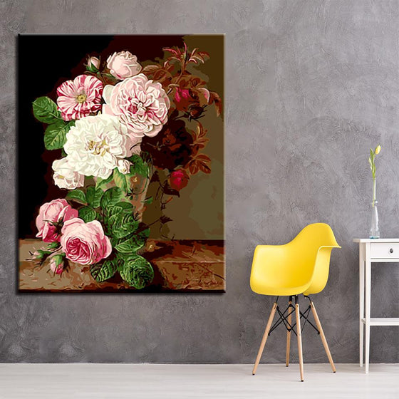 Bright Pink Flowers Wall Art Living Room- DIY Painting by Numbers Kit