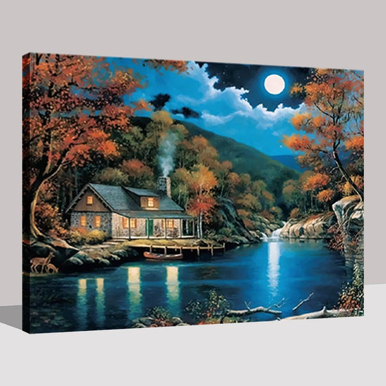 Full Moon Lake House - DIY Painting by Numbers Kit
