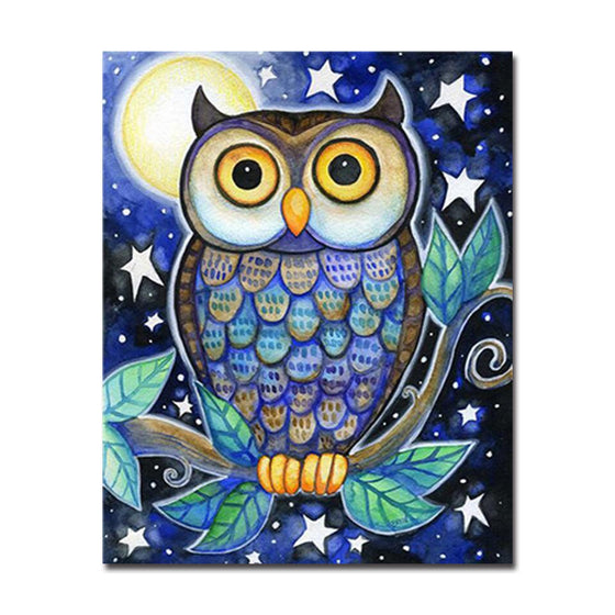Midnight Owl Moon And Stars - DIY Painting by Numbers Kit