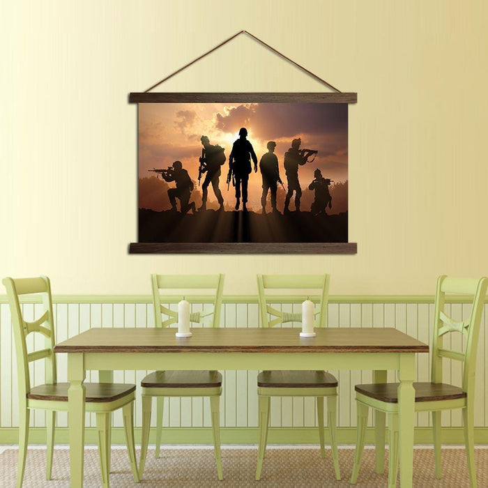 Soldiers Silhouette - Canvas Scroll Wall Art — canvasx.net