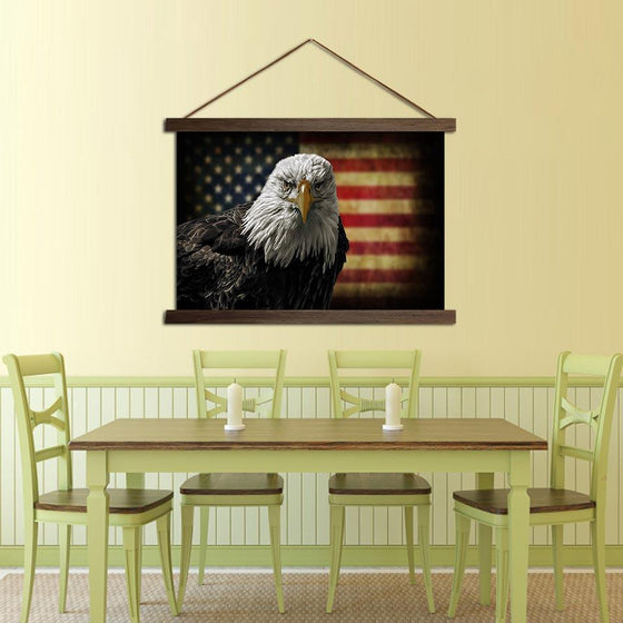 Eagle and American Flag - Canvas Scroll Wall Art