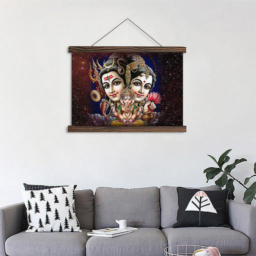 Shiva Parvati Ganesha - Canvas Scroll Wall Art