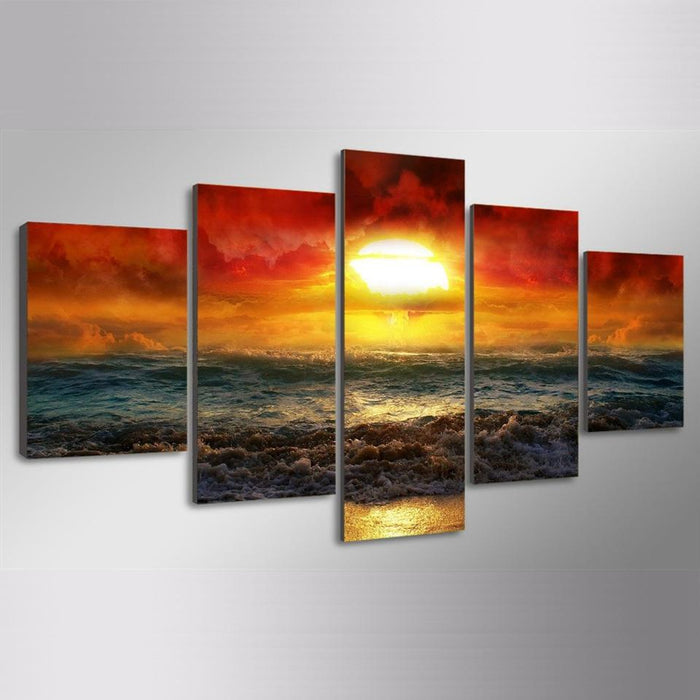 Amazing Sunset Beach Sea Wave Canvas Wall Art
