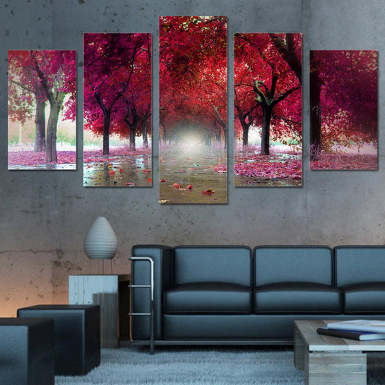 Red Trees Landscape Canvas Wall Art Decor