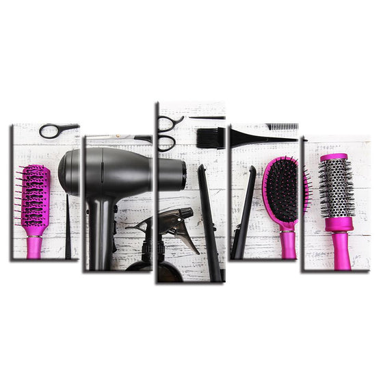 Hair Salon Tools 5-Panel Canvas Wall Art