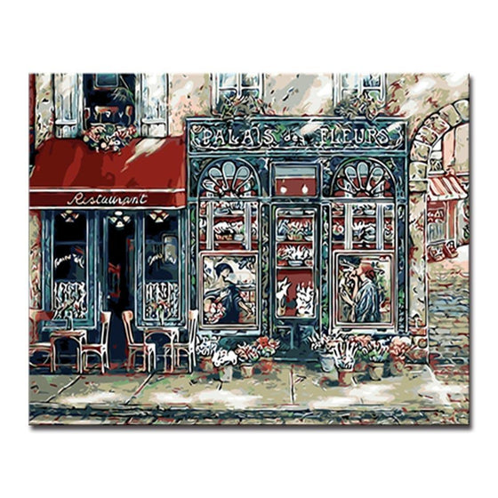 Coffee Shop Streetscape - DIY Painting by Numbers Kit