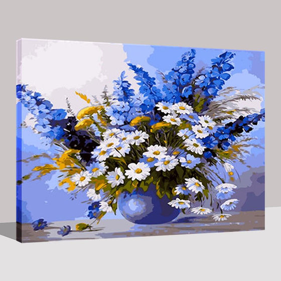 Blue Themed Flowers - DIY Painting by Numbers Kit