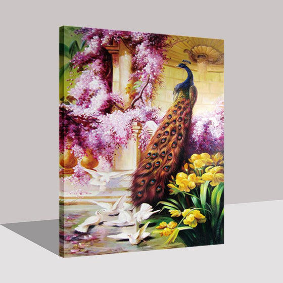Peacock And Different Types Of Flowers - DIY Painting by Numbers Kit